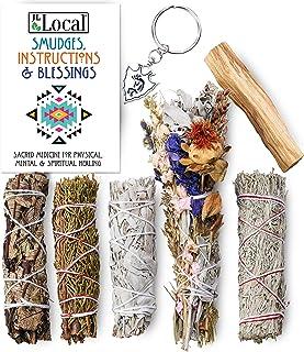 Ancient Energy 6pc Smudging Kit Sampler: Large Flower Sage, White Sage, Yerba Santa, Blue Sage, Juniper Sage, Palo Santo S...