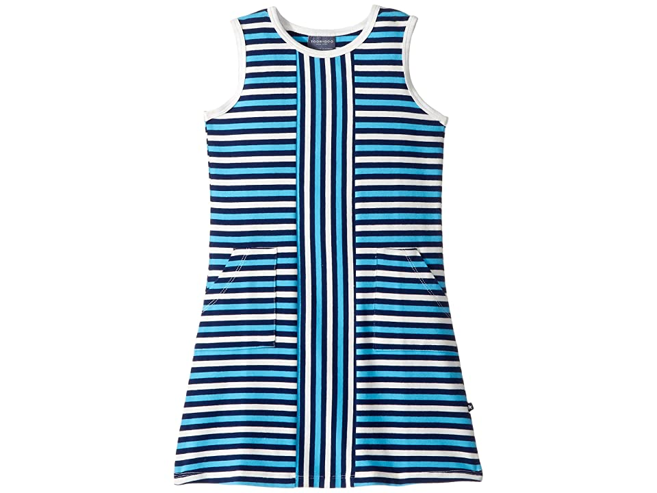 Toobydoo Blue Stripe Alexia Dress (Toddler/Little Kids/Big Kids) (Blue/White/Navy) Girl