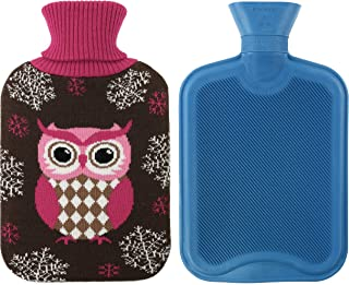 Athoinsu Premium Classical Rubber Hot Water Bottle 2 Liter with Cute Owl Knit Cover (Brown)