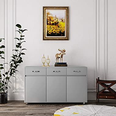GLCHQ Storage Drawer File Cabinet nightstand Side Cabinet Entryway Console Side Tableswith Three Drawers and Three Doors for