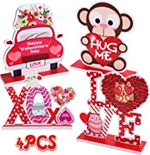 Sponsored Ad - 90shine 4PCS Valentines Day Decorations Table Centerpieces Ornaments Heart Wedding Party Decor Supplies(Ass...