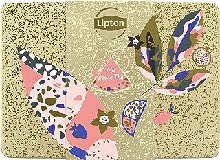 Lipton Coffret en métal, Assortiment de 9 thés & infusions aromatisés, idée cadeau, idéal à offrir, 56 sachets pyramide