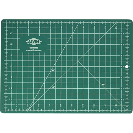 Alvin, GBM Series Professional Self-Healing Cutting Mat, Green/Black Double-Sided, Gridded Rotary Cutting Board for Crafts, Sewing, Fabric - 8.5 x 12 inches