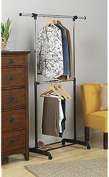 Whitmor Adjustable 2-Rod Garment Rack - Rolling Clothes Organizer - Black and Chrome