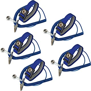Calunce 2.5M Reusable Anti-Static Wrist Straps Equipped with PU Grounding Wire and Alligator Clip (5PCS)