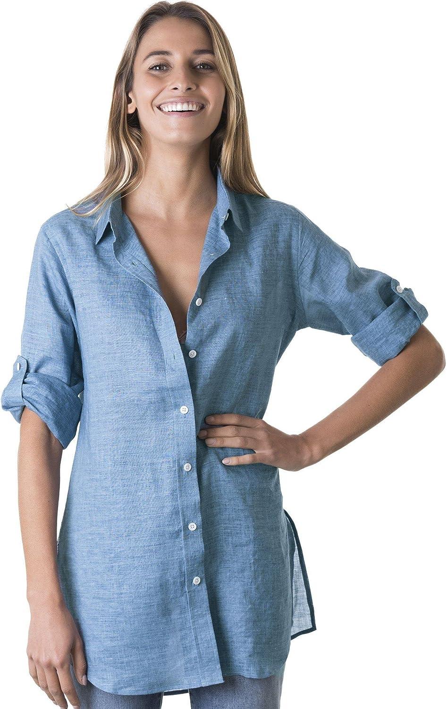 CAMIXA Women 100% Linen Shirt Casual Long Tunic Carefree Breezy Blouse Loose Top