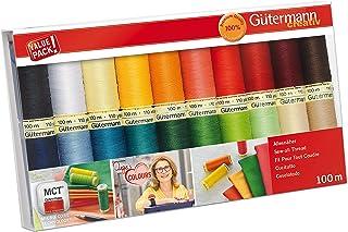 Gutermann 734610-1 Lot de 20 Bobines de Fil à Coudre Multicolore 100 M