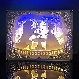 HomKastle 3D LED Night Light Beauty and The Beast - Acrylic Frame Paper Art Light Box