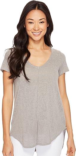 Linen Blend Sweater Short Sleeve V-Neck Tee