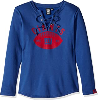 Icer Brands NFL New York Giants Women's Fleece Sweatshirt Lace Long Sleeve Shirt, Small, Blue