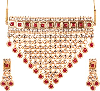 New Bollywood Replic Deepika Padukone Wedding Masterly Crafted Mughal Kundan Look Faux Ruby Designer Jewelry Grand Bridal Choker in Gold Tone for Women
