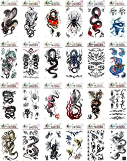 24 sheets men guy spider cobra tiger temporary tattoo best wrist tattoo