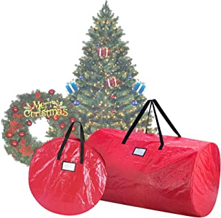"DTX International Elf Stor Deluxe Red Christmas Tree Storage Bag & Canvas 30"" Wreath Bag"