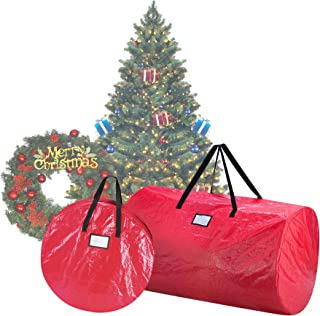 Elf Stor 1016 Combo Christmas Set in Red 9 Foot Artificial Trees & 30-Inch Wreath Storage Bag, 30 Inch Bag & 9 ft Bag