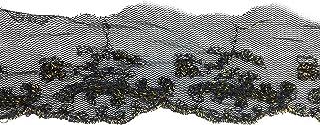 Fancy Goldstickerei-Band, 5,1 cm, auf schwarzem Tüll, bestickt, 2,2 m
