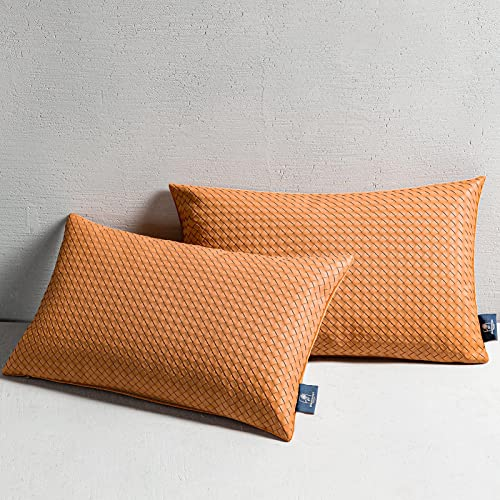 high quality Phantoscope Pack online sale of 2 Faux Leather Pillow Covers - Woven Leather outlet sale Throw Pillow Covers - Modern Farmhouse Decorative Pillow Cases Cushion Covers, Brown 12x20 Inches outlet online sale