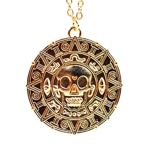 6 x Medallion Skull with Caribbean Aztec Coin Tibetan Silver Plated Pendant
