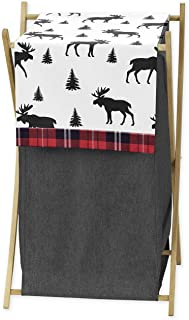 Grey, Black and Red Woodland Plaid and Moose Baby Kid Clothes Laundry Hamper for Rustic Patch Collection by Sweet Jojo Des...