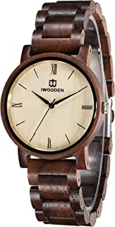 Wood Watch for Men Quartz Mens Watch Engraved Wooden...