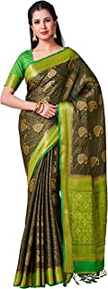 MIMOSA Kanjivaram Style Artifical Silk Saree Color: Green (4422-2448-2D-BGRN-PGRN)
