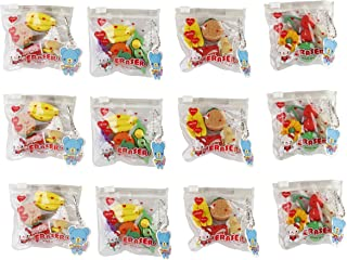 Parteet New Mix Shapes Erasers in A Pouch - Pack of 12 for Birthday Party Return Gifts for Kids