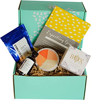First Trimester Pregnancy Gift Box with Non-Toxic, Organic, Natural & Unique Products - Tummy Drops, Box Naturals Wipes, Massage Serum, Bath Soak, Pregnancy Journal