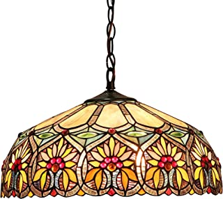 """Chloe Lighting CH33453BF18-DH2 Sunny Tiffany-Style Floral 2-Light Ceiling Pendant with Fixture with Shade, 8.7 x 17.7 x 17.7"""", Bronze"""