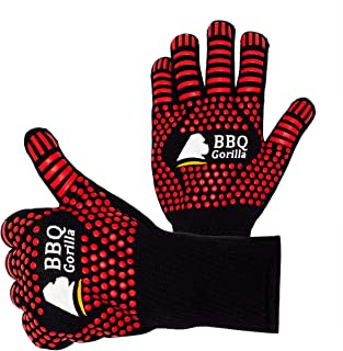 BBQ Gorilla - BBQ Gloves - Heat Resistant for Barbecue Grill Or Oven - for Cooking and Grilling - Silicon Design for Anti-...