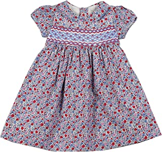 Blue & Red Floral Hand Smocked Dress 6 Months - 6 Years
