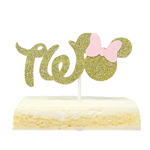 Gold And Pink Glitter Minnie Mouse Inspired Cake Topper for Two Years Old Birthday Best Seller