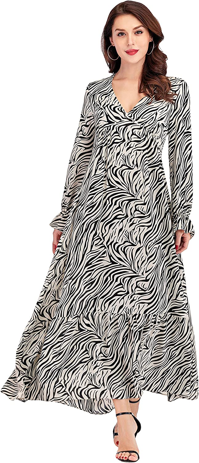 Women's Zebra Printed Maxi Dresses Long Sleeve Pleated Fit & Flare Ankle Length Dress with Pockets