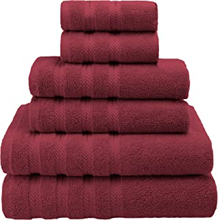 American Soft Linen Premium, Luxury Hotel & Spa Quality, 6 Piece Kitchen and Bathroom Turkish Towel Set, Cotton for Maximum Softness and Absorbency, [Worth $72.95] Burgundy