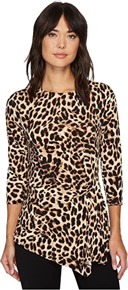 Vince Camuto - 3/4 Sleeve Exotic Animal Side Ruched Top