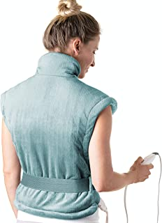 Pure Enrichment PureRelief XL Extra-Long Back & Neck Heating Pad - Fast-Heating Technology Contoured for Neck, Back and Shoulder Heat Therapy with Magnetic Closure, and Adjustable Belt (Sea Glass)