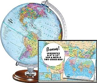 "Replogle Student - Classic Classic World Globe ، Blue Ocean ، Feature Relief Feature ، از جمله نقشه Bonus ، ساخت آمریکا ، قطر 12 ""/ 30 سانتی متر"