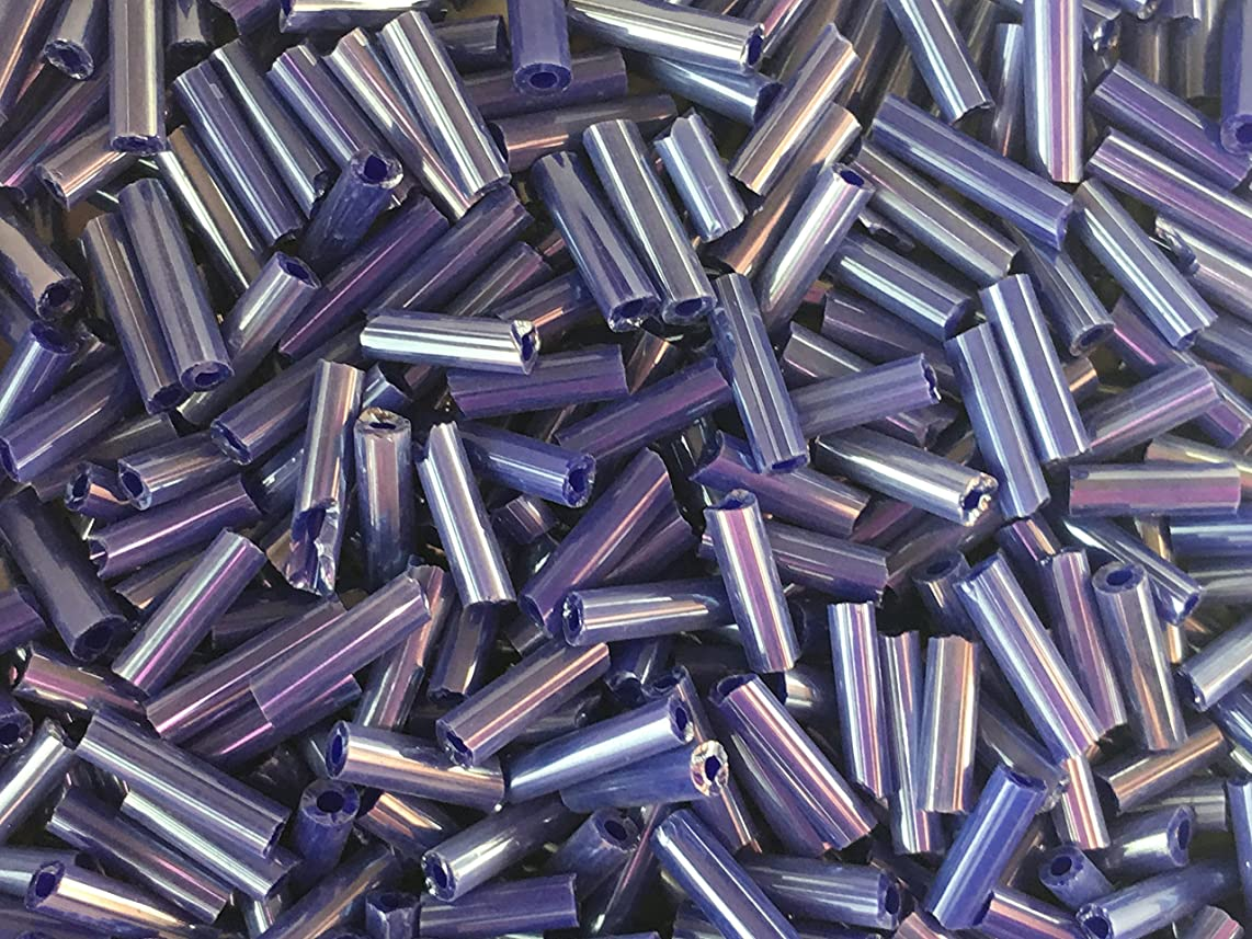 Czech Bugle Beads 40 gr / 1.4 oz Opaque Dark Blue Satin Glass Tube Size #3 7mm
