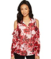 Calvin Klein - Printed Ruffle Cold Shoulder Blouse