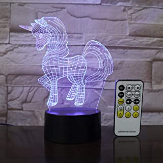 Wonderland Pool Unicorn 3D Night Light, Table Lamp, Desk Visual, Remote, Touch Control, Smart Bedroom Decor, Kids Birthday Gift, Friends, Unique Decorative LED, 7 Colors, Touch, Intelligent Lamps