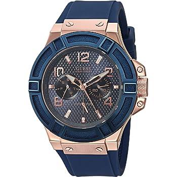 ゲス GUESS Blue and Rose Gold-Tone Rigor Standout Casual Sport Watch [並行輸入品]
