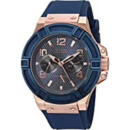 GUESS Men's Rigor Iconic Blue Stain Resistant Silicone Watch with Rose Gold-Tone Day + Date...