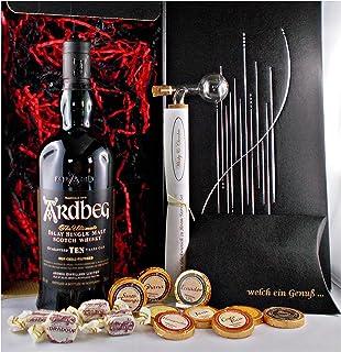 Geschenk Ardbeg Ten Islay Single Malt Whisky  Glaskugelportionierer  Edelschokolade  Whiskey Fudge