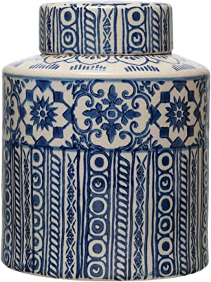 Creative Co-Op Decorative Stoneware Ginger Pattern, Blue & Cream Color Jar