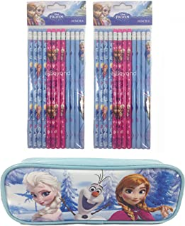 1 X Brand New Disney Frozen Elsa and Anna Pencil Pouch Plus 2 Sets of Pencils - Baby Blue