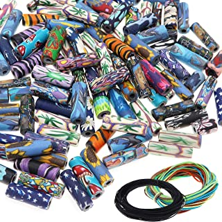 100 PCS Assorted Polymer Tube Beads with 6m Multicolor Stretch Cord and 10m Black Wax Cord multicolored DY1108