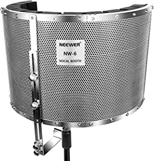 "Neewer Microphone Isolation Shield Absorber Filter Vocal Isolation Booth with Lightweight Aluminum Panel, Thick Soundproofing Foams, Mounting Brackets and Screws for Mic Stand with 5/8"" Thread"