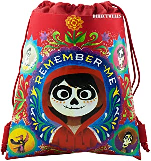 Disney COCO Drawstring Backpack PIXAR Sling Tote Gym Bag (Pink Miguel)