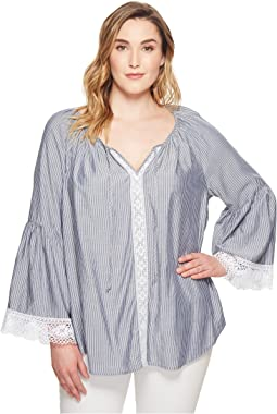 Karen Kane Plus Plus Size Lace Sleeve Peasant Top