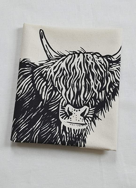 Cow Tea Towel Organic Cotton Flour Sack Scottish Highland Cow Print In Black