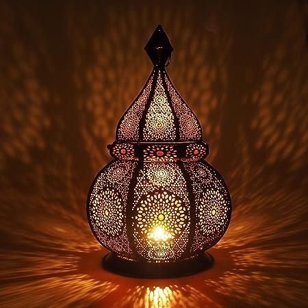 Gadgy Lanterne Marocaine   Porte Bougie Decorative   Decoration Orientale   Photophore pour Bougie et Lumières électriques   Objet Africain  Résistant au Vent   Lampe Orientale 36 x 21,5 cm.