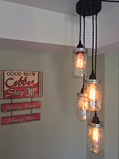 Mason Jar Chandelier Swag Light - NO Hard Wiring!! Just Hang it up and Plug it in!! (Black Cord)